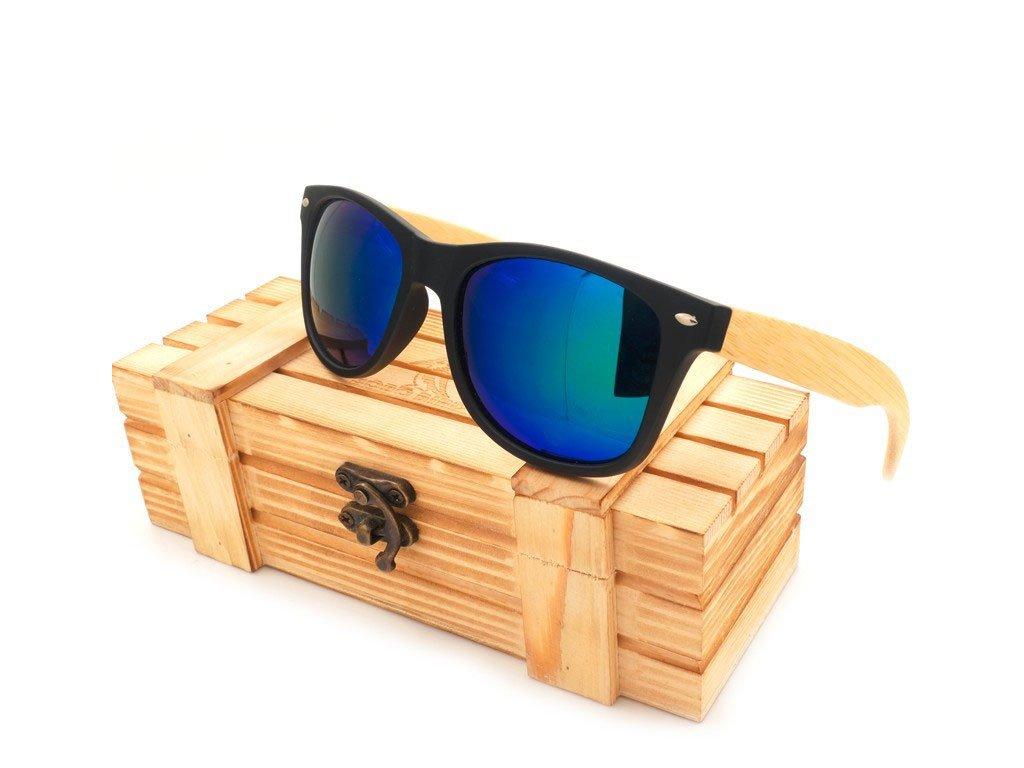 Dřevěné brýle Bobo Bird CG004 s modrými skly
