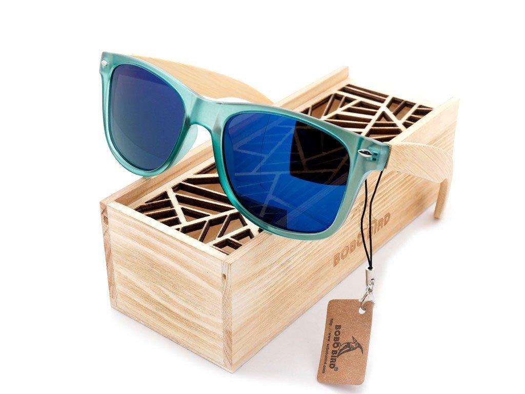 Dřevěné brýle Bobo Bird CG002 s modrými skly