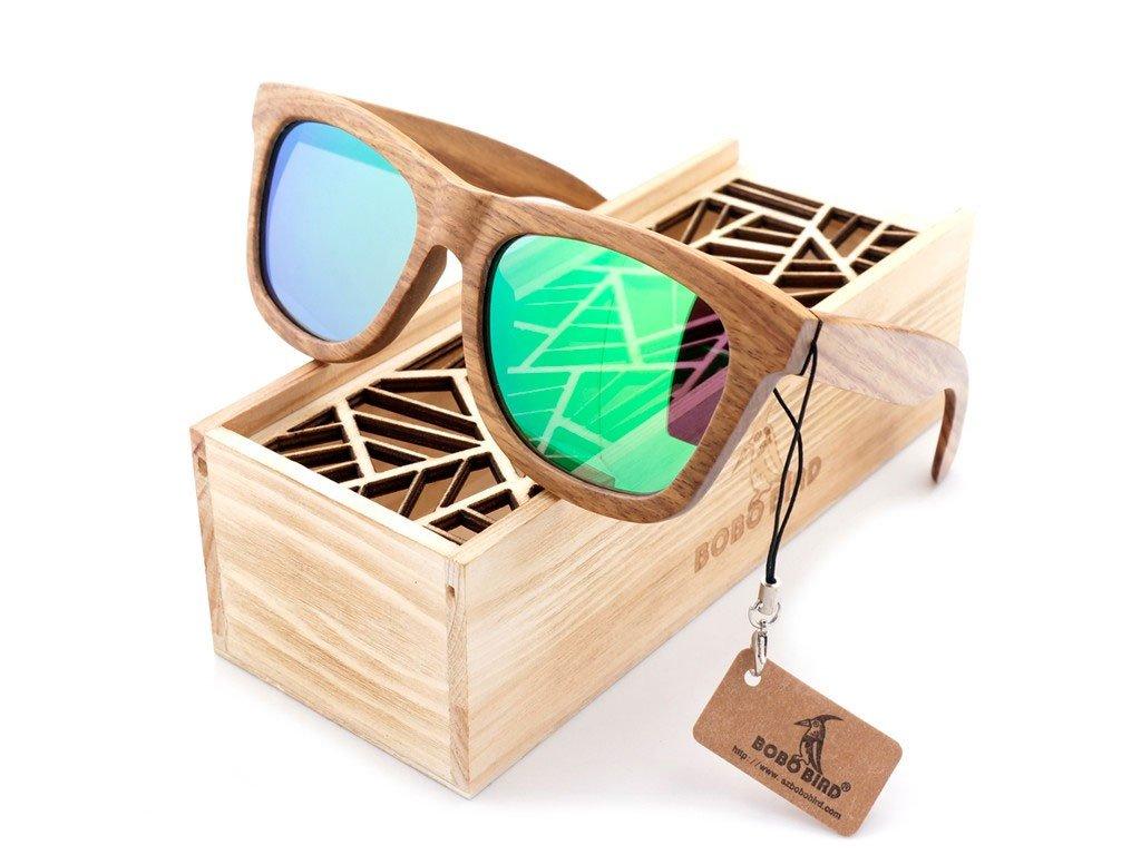 Dřevěné brýle Bobo Bird AG007 se zelenými skly