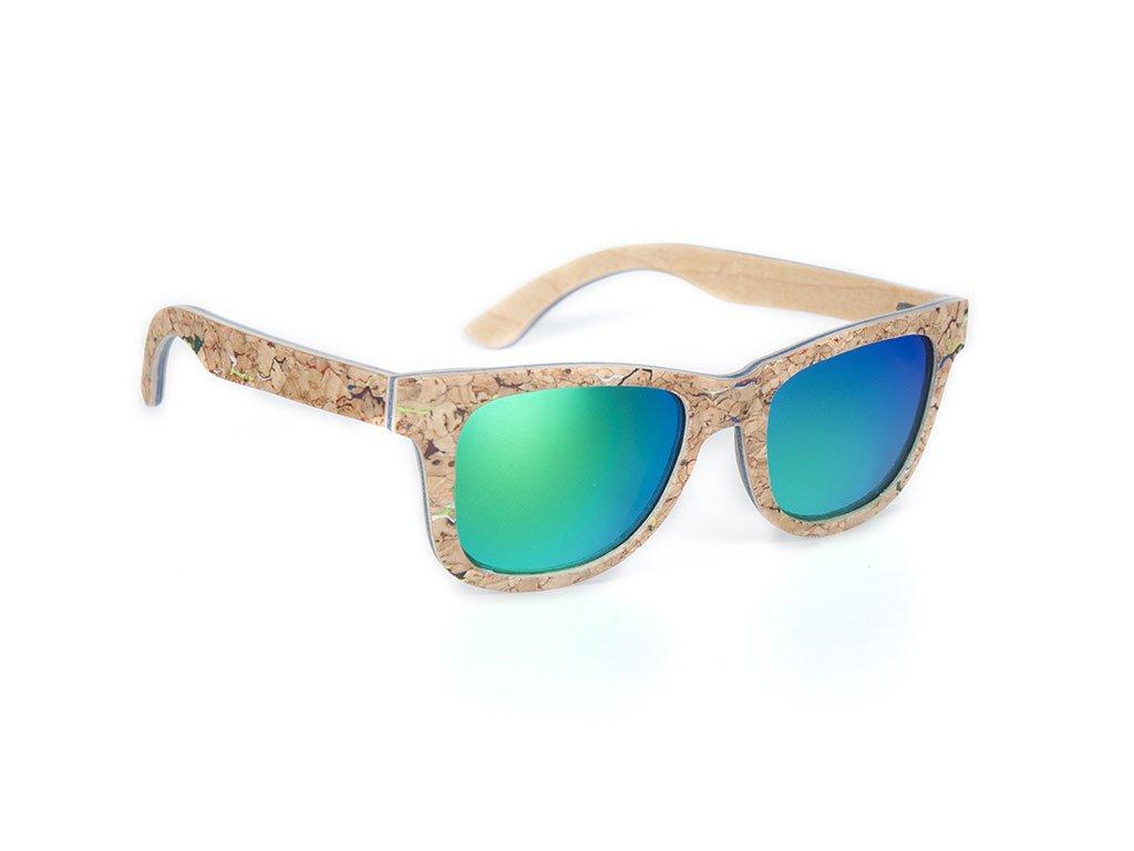 Dřevěné brýle Bobo Bird AG021 se zelenými skly