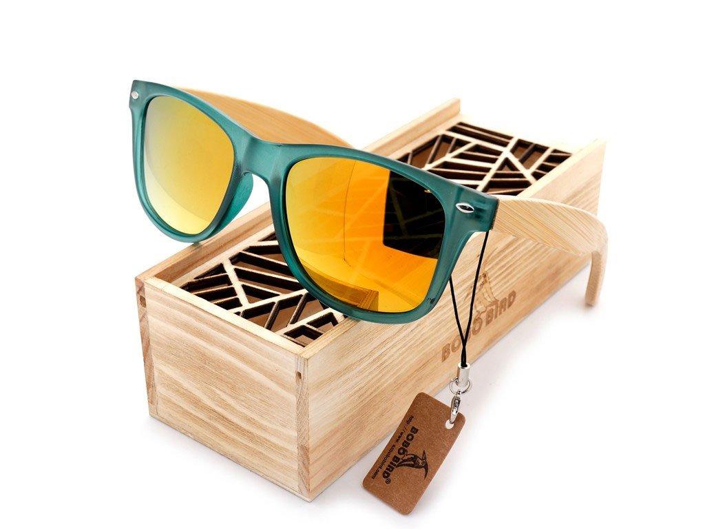 Dřevěné brýle Bobo Bird CG002 se zlatými skly