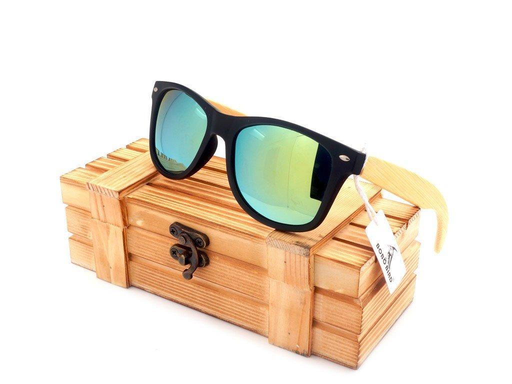 Dřevěné brýle Bobo Bird CG004 se zelenými skly