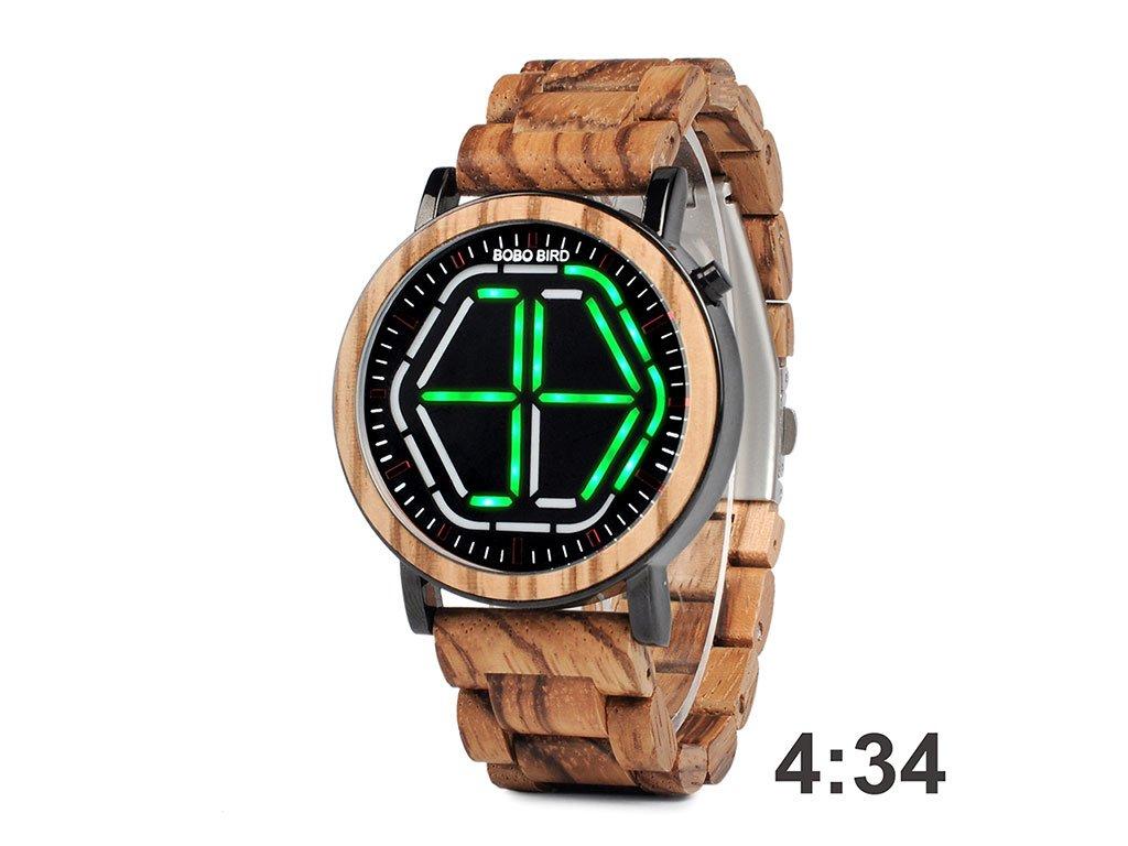 Dřevěné hodinky Bobo Bird C-P13 se zeleným světlem
