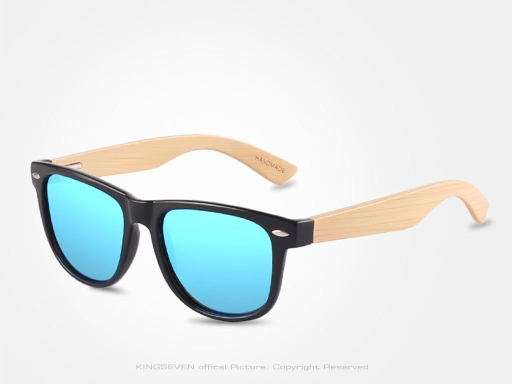Dřevěné brýle Kingseven N5789 s modrými skly