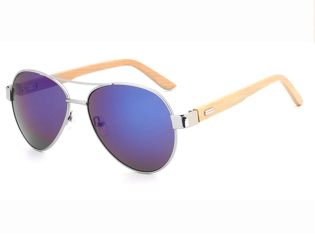 Dřevěné brýle HDCRAFTER 1510 - Aviatorky s modrými skly