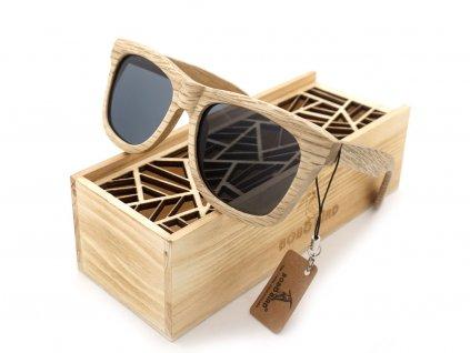 Dřevěné brýle Bobo Bird AG007 s šedými skly