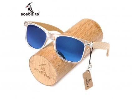 Dřevěné brýle Bobo Bird C-CG008 s modrými skly