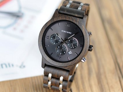 Dřevěné hodinky Bobo Bird V-P19 - Tmavé