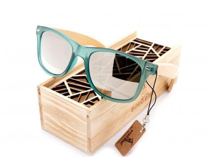 Sluneční dřevěné brýle CG002 - stříbrná skla