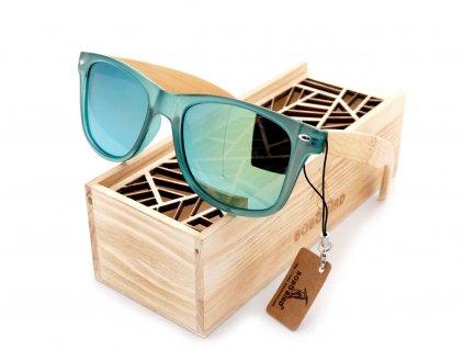 Dřevěné brýle Bobo Bird CG002 se zelenými skly