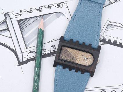 Dřevěné hodinky Bobo Bird C-N2123 s tyrkysovým páskem