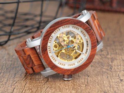 Mechanické hodinky Bobo Bird WK12-WOOD Světlé s dřevěným páskem